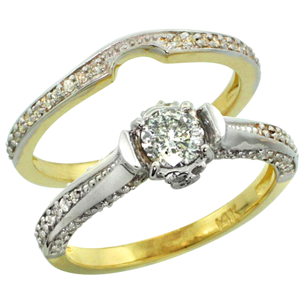14k Gold 2-Pc. Diamond Engagement Ring Set w/ 0.41 Carat (Center) & 0.42 Carat (Sides) Brilliant Cut ( H-I Color; SI1 Clarity )