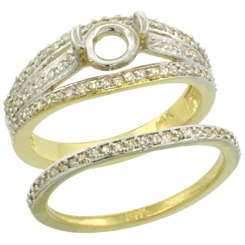 14k Gold Semi Mount (for 6mm Round Diamond) 2-Pc. Engagement Ring Set w/ 0.53 Carat Brilliant Cut ( H-I Color; SI1 Clarity ) Diamondsl, 3/8 in. (10mm) wide