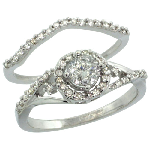 14k White Gold 2-Pc. Diamond Engagement Ring Set w/ 0.43 Carat (Center) & 0.30 Carat (Sides) Brilliant Cut ( H-I Color; SI1 Clarity ) Diamondsl, 3/8 in. (9mm) wide