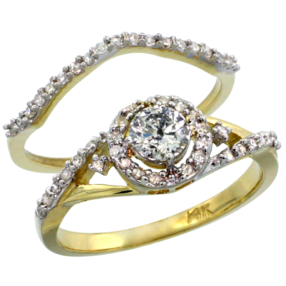 14k Gold 2-Pc. Diamond Engagement Ring Set w/ 0.43 Carat (Center) & 0.30 Carat (Sides) Brilliant Cut ( H-I Color; SI1 Clarity )