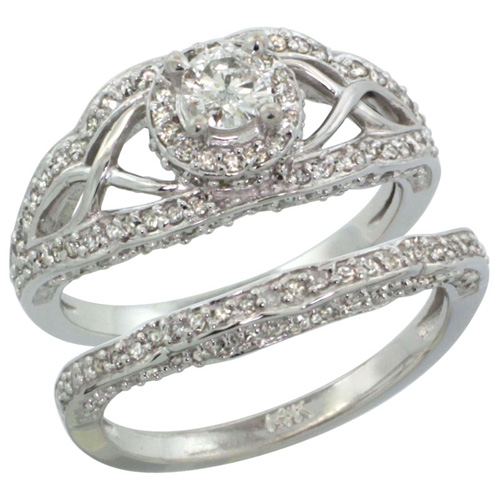 14k White Gold 2-Pc. Diamond Engagement Ring Set w/ 0.29 Carat (Center) & 0.69 Carat (Sides) Brilliant Cut ( H-I Color; SI1 Clarity ) Diamondsl, 7/16 in. (11mm) wide
