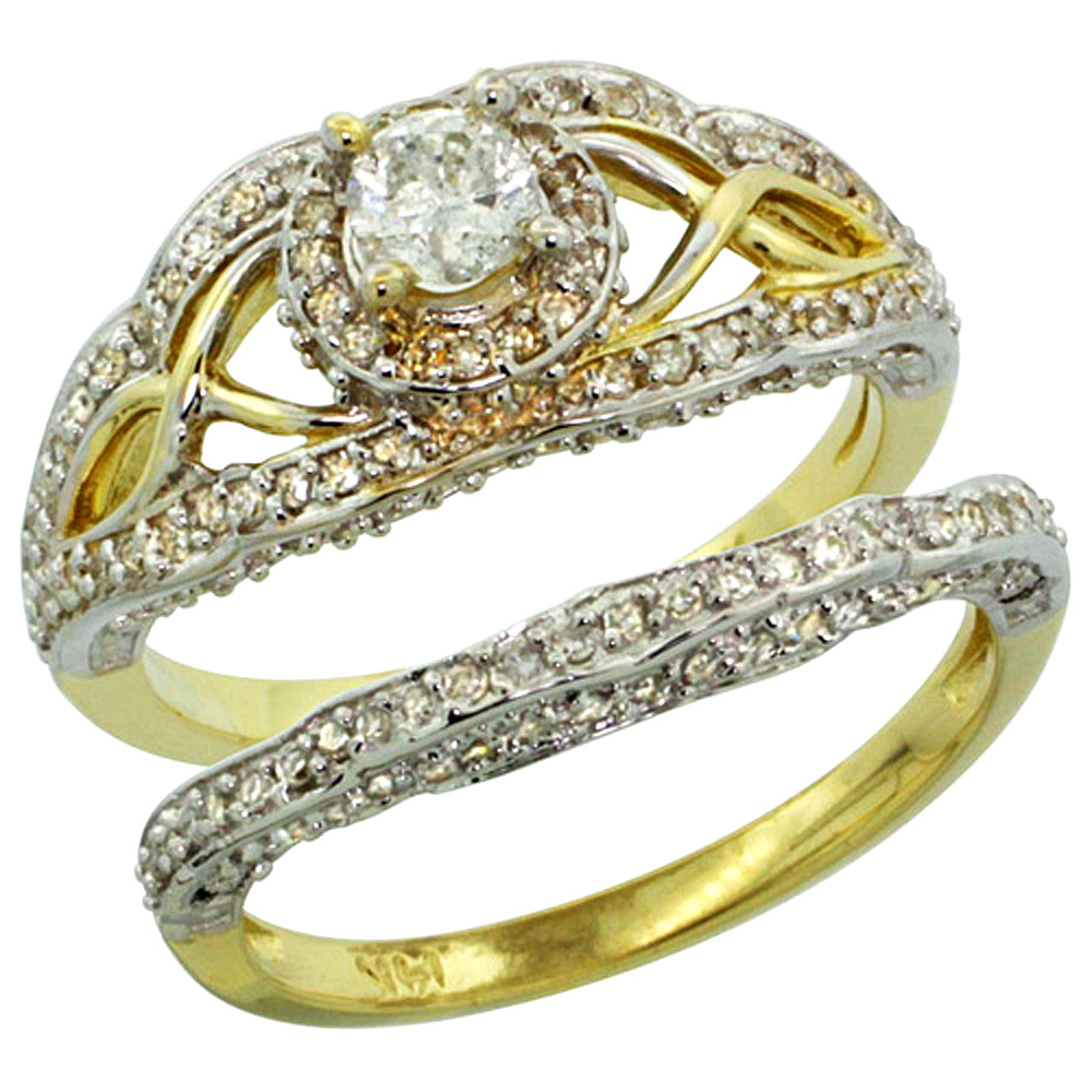 14k Gold 2-Pc. Diamond Engagement Ring Set w/ 0.29 Carat (Center) & 0.69 Carat (Sides) Brilliant Cut ( H-I Color; SI1 Clarity )