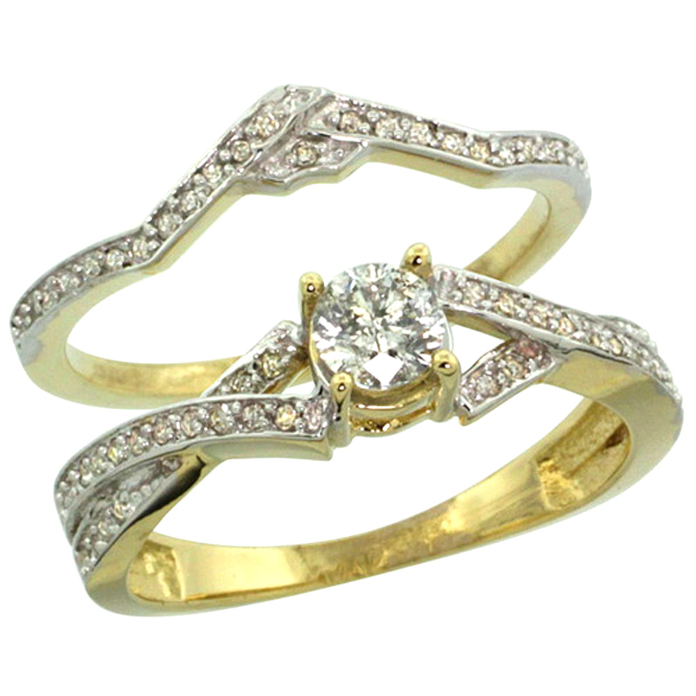 14k Gold 2-Pc. Diamond Engagement Ring Set w/ 0.33 Carat (Center) & 0.17 Carat (Sides) Brilliant Cut ( H-I Color; SI1 Clarity )