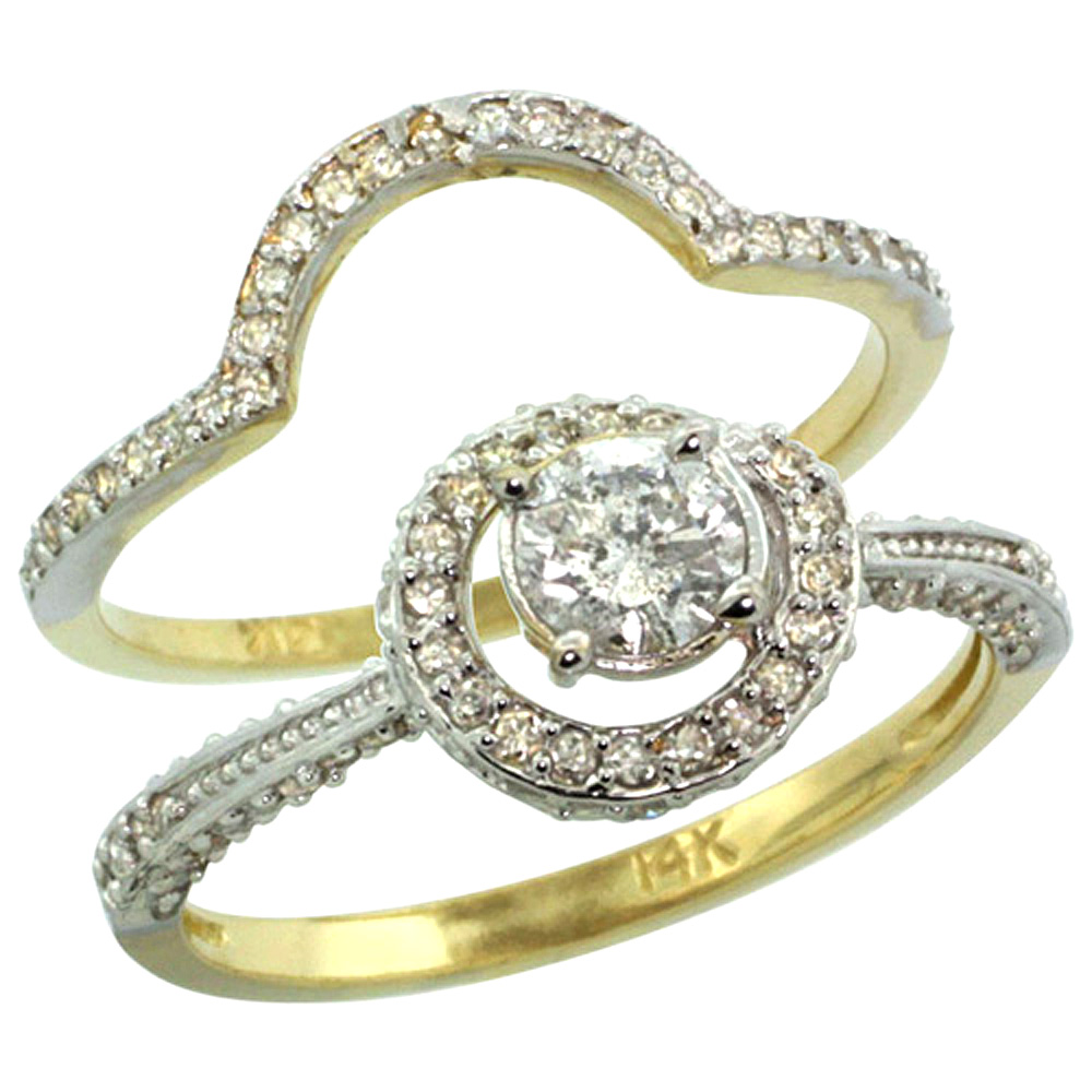 14k Gold 2-Pc. Diamond Engagement Ring Set w/ 0.41 Carat (Center) & 0.70 Carat (Sides) Brilliant Cut ( H-I Color; SI1 Clarity )