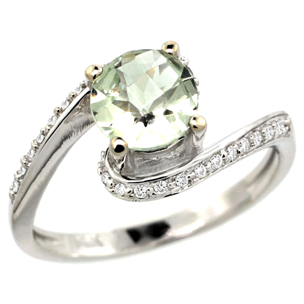 10K White Gold Natural Green Amethyst Swirl Design Ring Diamond Accent Round 6mm, 1/2 inch wide