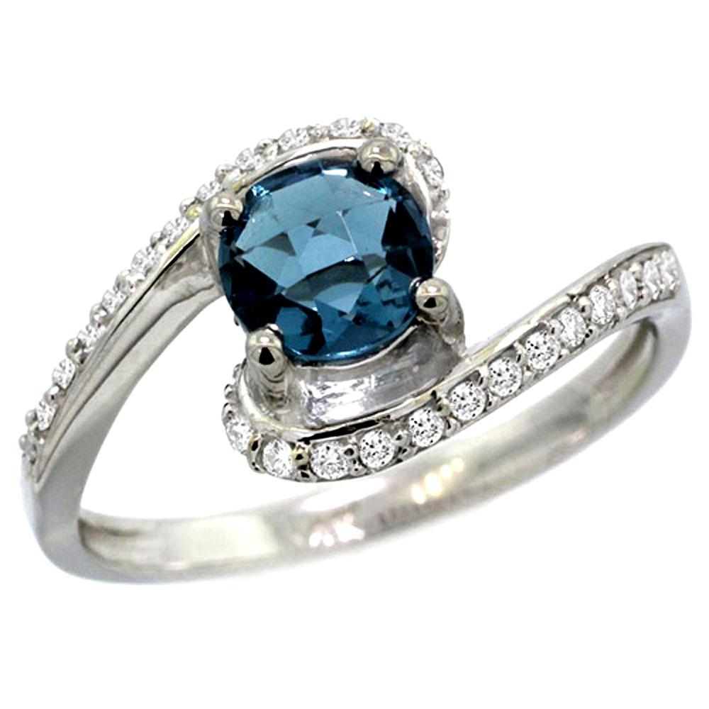 10K White Gold Natural London Blue Topaz Swirl Design Ring Diamond Accent Round 6mm, 1/2 inch wide