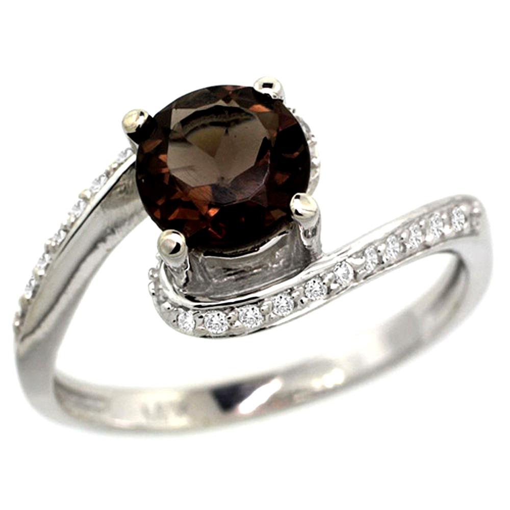 10K White Gold Natural Smoky Topaz Swirl Design Ring Diamond Accent Round 6mm, 1/2 inch wide