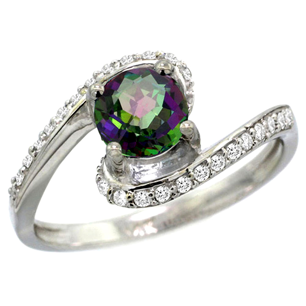 10K White Gold Natural Mystic Topaz Swirl Design Ring Diamond Accent Round 6mm, 1/2 inch wide