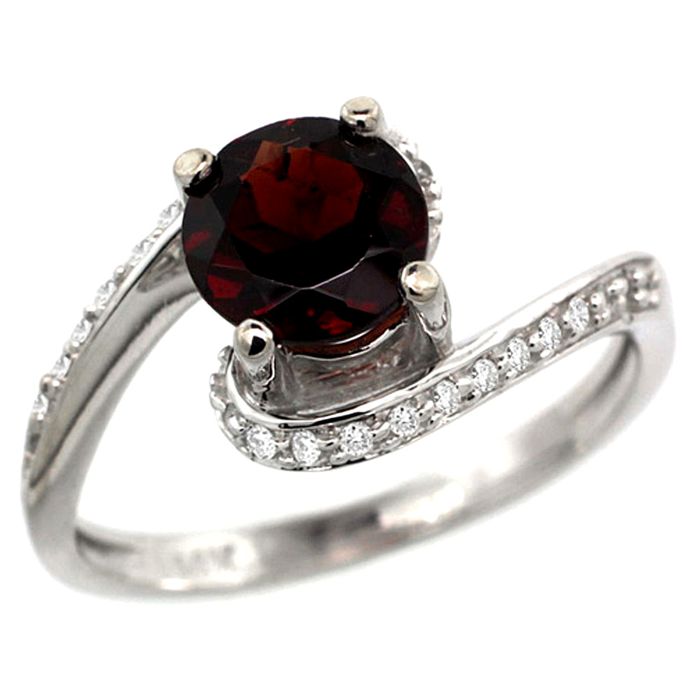 10K White Gold Natural Garnet Swirl Design Ring Diamond Accent Round 6mm, 1/2 inch wide