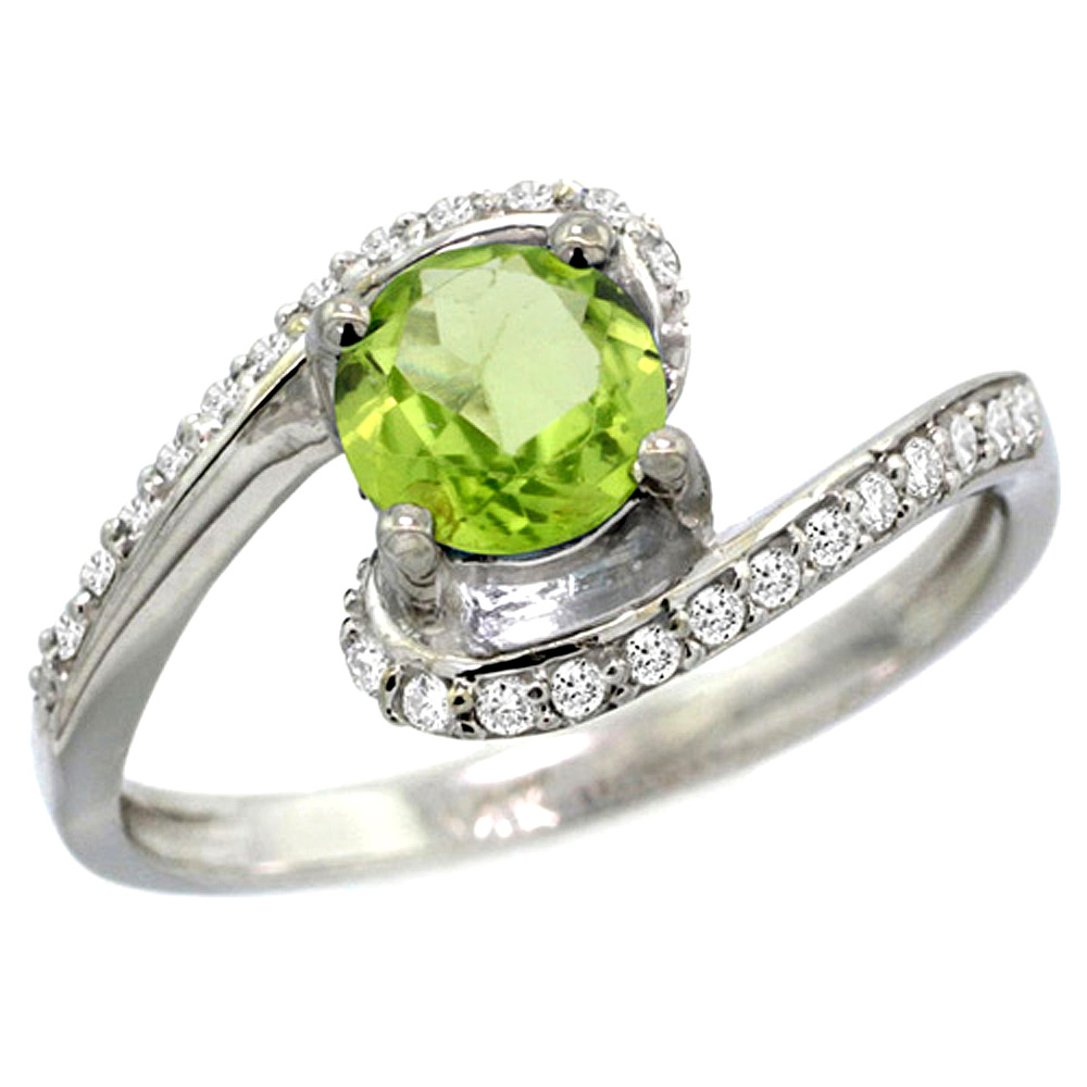 10K White Gold Natural Peridot Swirl Design Ring Diamond Accent Round 6mm, 1/2 inch wide