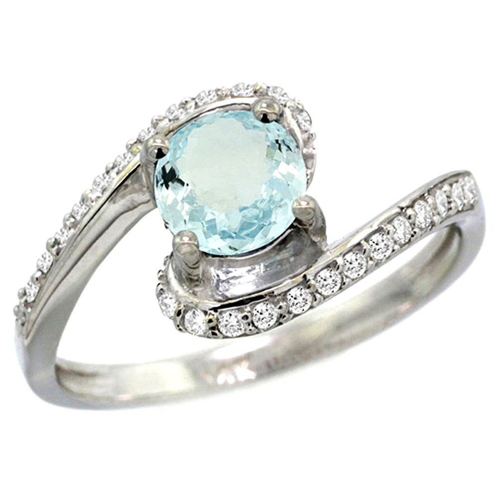 10K White Gold Natural Aquamarine Swirl Design Ring Diamond Accent Round 6mm, 1/2 inch wide
