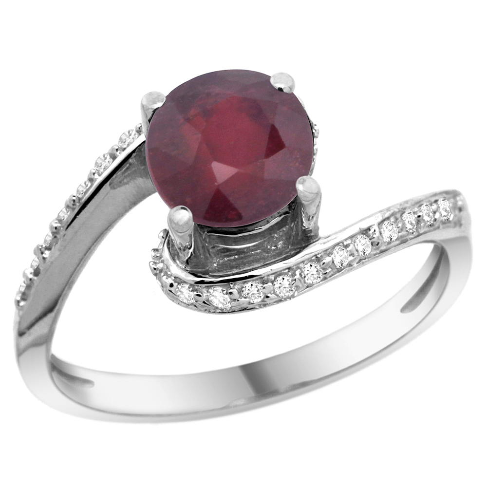 10K White Gold Natural Enhanced Ruby Swirl Design Ring Diamond Accent Round 6mm, 1/2 inch wide