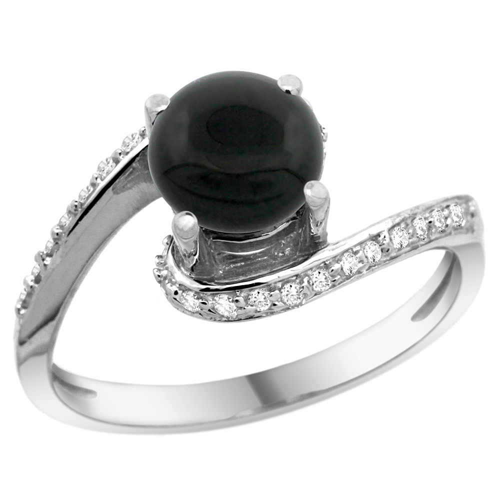 10K White Gold Natural Black Onyx Swirl Design Ring Diamond Accent Round 6mm, 1/2 inch wide