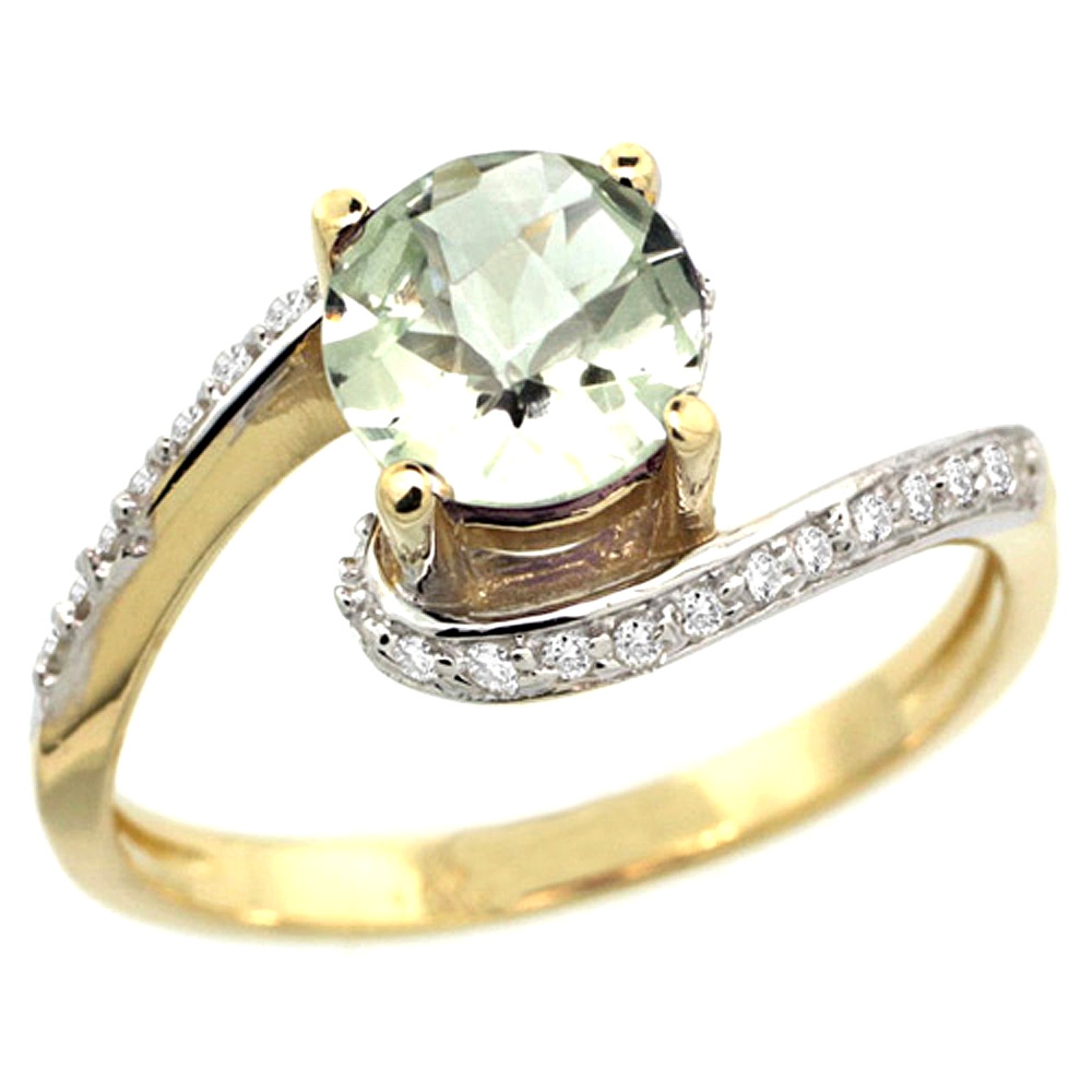10K Yellow Gold Natural Green Amethyst Swirl Design Ring Diamond Accent Round 6mm, 1/2 inch wide