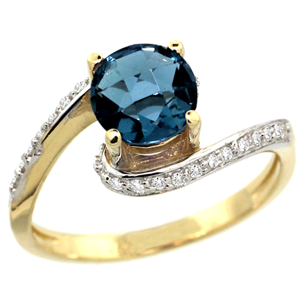 10K Yellow Gold Natural London Blue Topaz Swirl Design Ring Diamond Accent Round 6mm, 1/2 inch wide