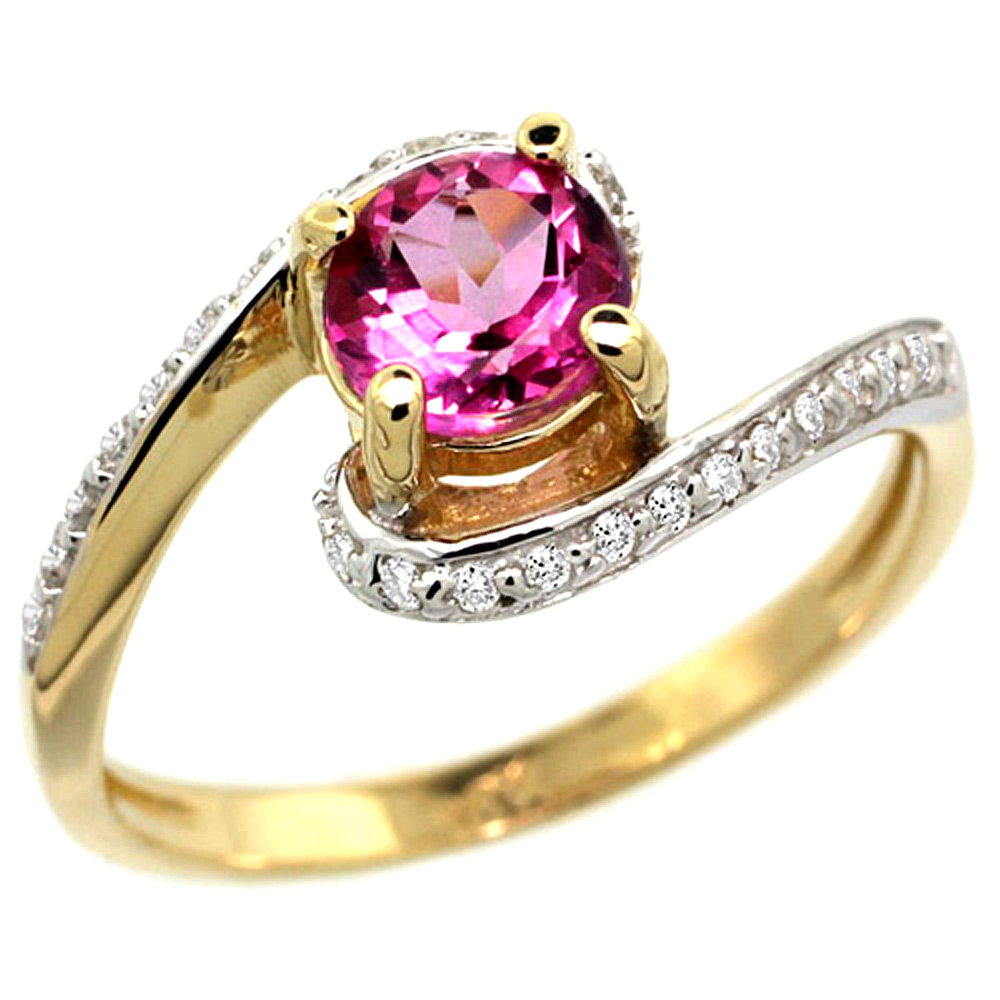 10K Yellow Gold Natural Pink Topaz Swirl Design Ring Diamond Accent Round 6mm, 1/2 inch wide