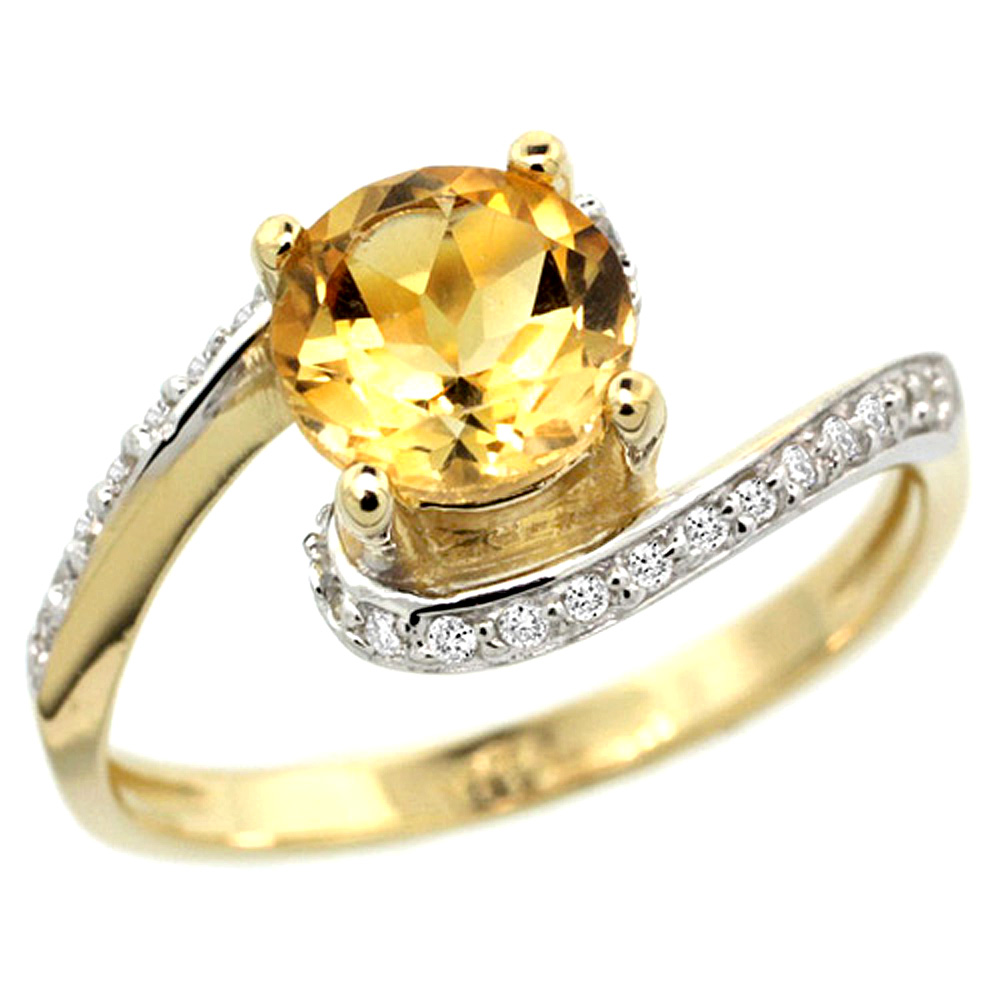 10K Yellow Gold Natural Citrine Swirl Design Ring Diamond Accent Round 6mm, 1/2 inch wide