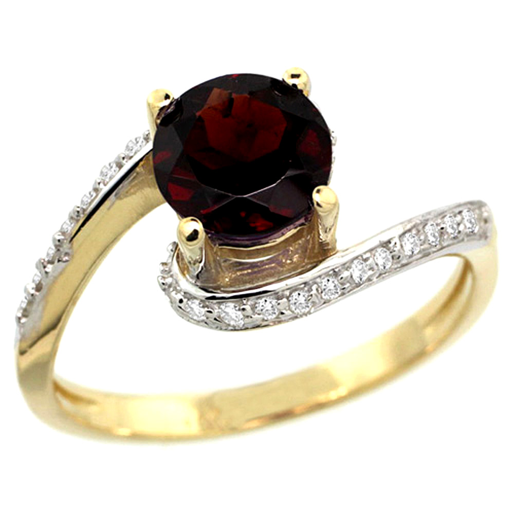 10K Yellow Gold Natural Garnet Swirl Design Ring Diamond Accent Round 6mm, 1/2 inch wide