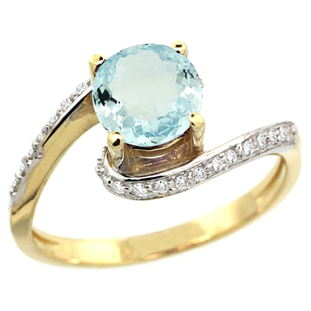 10K Yellow Gold Natural Aquamarine Swirl Design Ring Diamond Accent Round 6mm, 1/2 inch wide