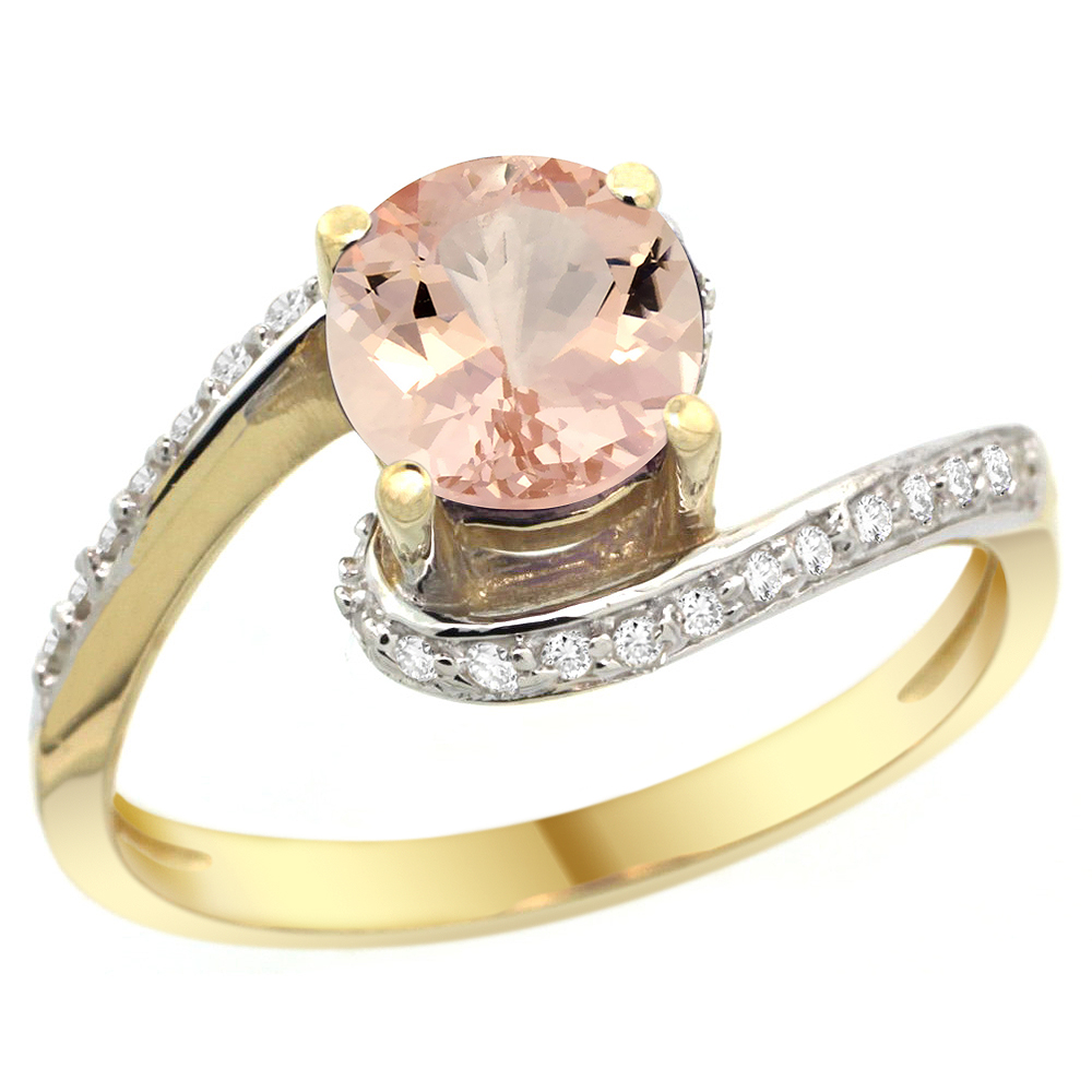 10K Yellow Gold Natural Morganite Swirl Design Ring Diamond Accent Round 6mm, 1/2 inch wide