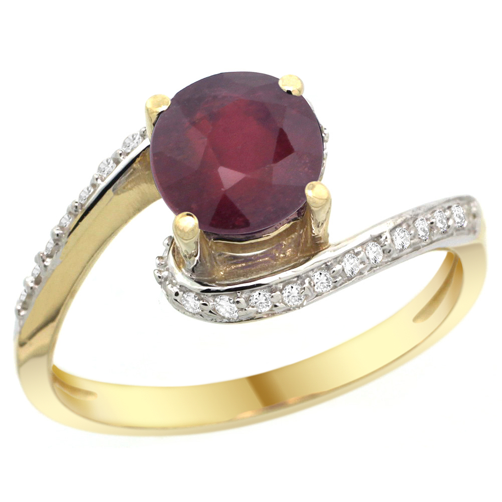 10K Yellow Gold Natural Enhanced Ruby Swirl Design Ring Diamond Accent Round 6mm, 1/2 inch wide