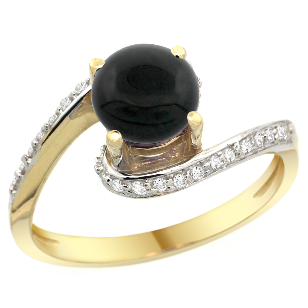 10K Yellow Gold Natural Black Onyx Swirl Design Ring Diamond Accent Round 6mm, 1/2 inch wide