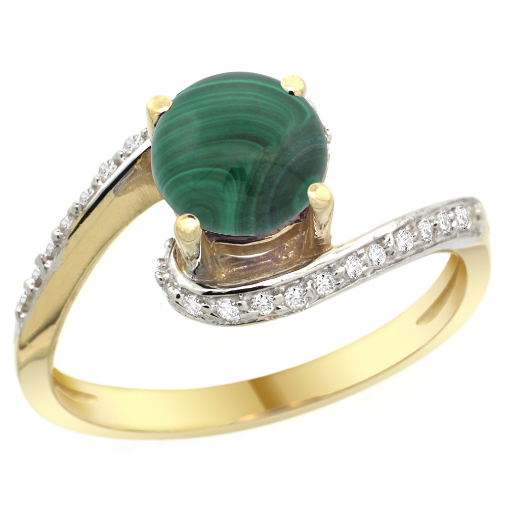 10K Yellow Gold Natural Malachite Swirl Design Ring Diamond Accent Round 6mm, 1/2 inch wide