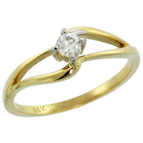 14k Gold Double Loop Diamond Engagement Ring w/ 0.16 Carat Brilliant Cut ( H-I Color; SI1 Clarity ) Diamond, 3/16 in. (5mm) wide