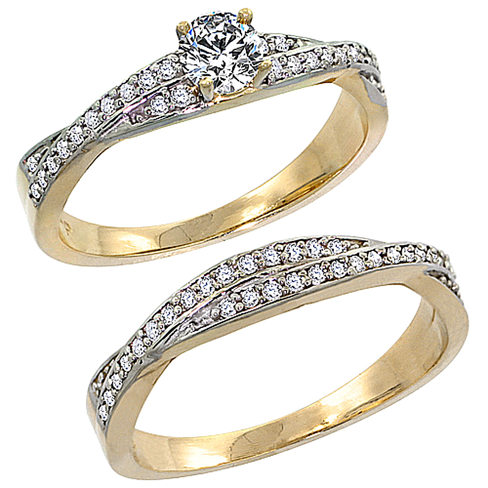14k Gold 2-Pc Diamond Engagment Ring Set w/ 0.36 Carat Brilliant Cut ( H-I Color; VS2-SI1 Clarity ) Diamonds, 1/4 in. (7mm) wide