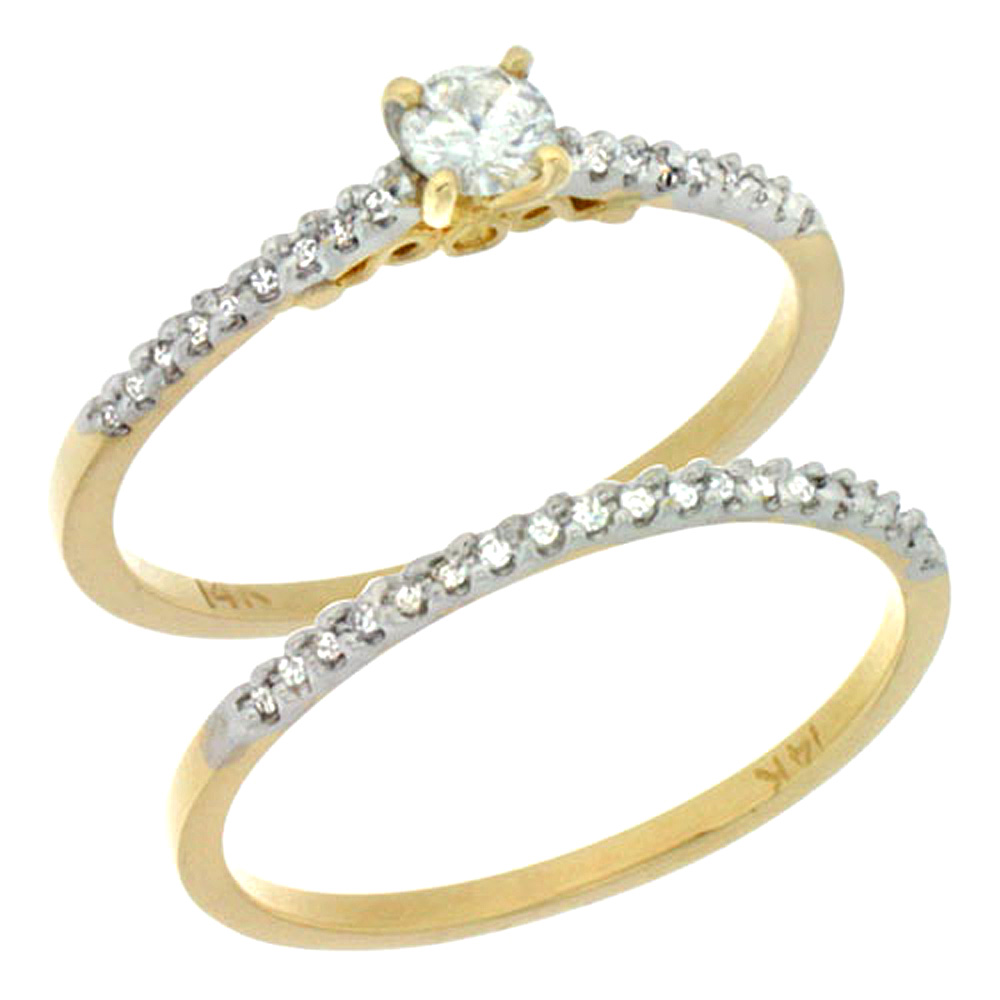 14k Gold 2-Pc Diamond Engagement Ring Set w/ 0.30 Carat Brilliant Cut ( H-I Color; VS2-SI1 Clarity ) Diamonds, 1/8 in. (3mm) wid