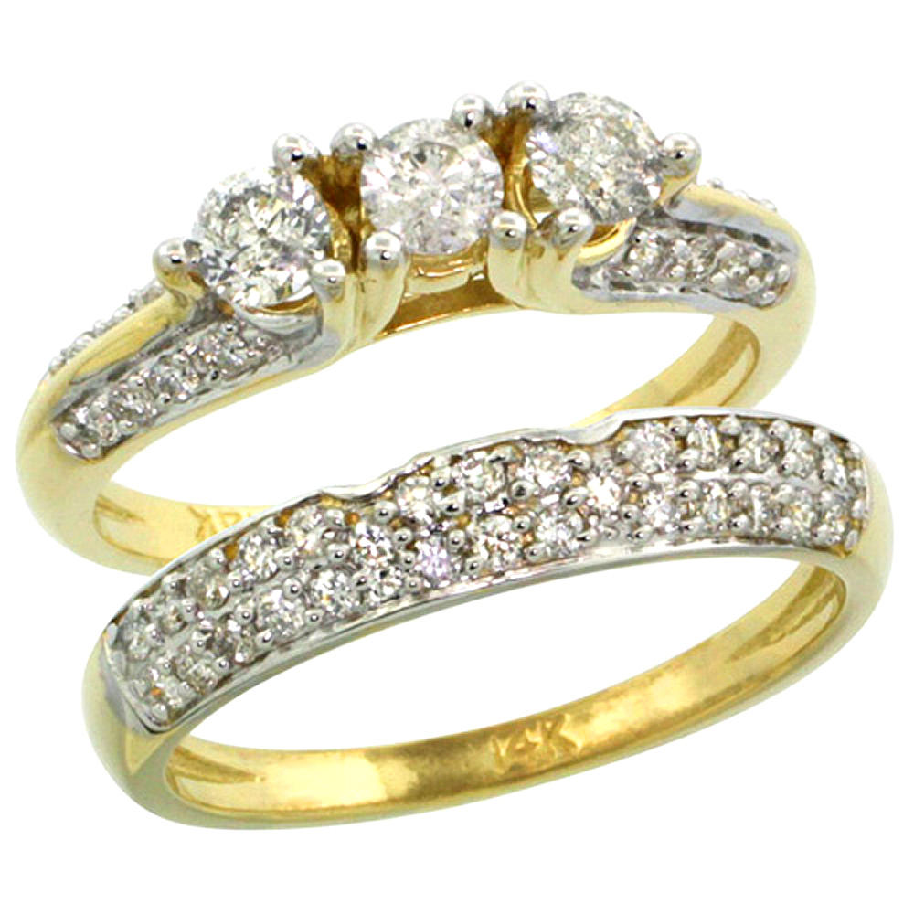 14k Gold 2-Pc. Diamond Engagement Ring Set w/ 0.64 Carat (Center) & 0.45 Carat (Sides) Brilliant Cut ( H-I Color; VS2-SI1 Clarit