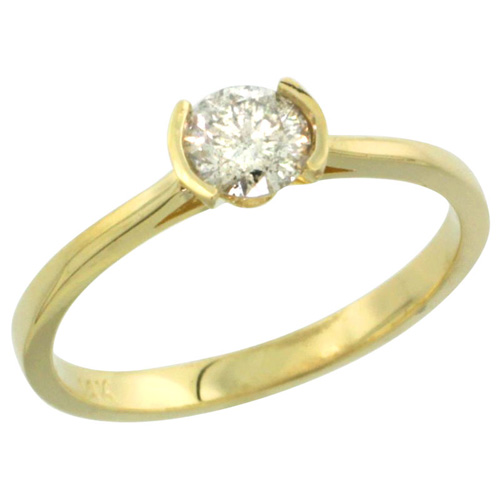 14k Gold Semi Mount (for 5mm Round Diamond) Engagement Ring 1/16 in. (2mm) wide