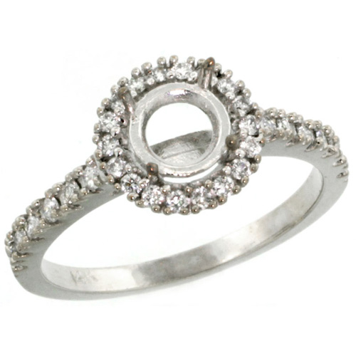 14k White Gold Semi Mount (for 6mm 1 Carat Size Round Diamond) Engagement Ring w/ 0.34 Carat Brilliant Cut Diamonds, 3/8 in. (10mm) wide