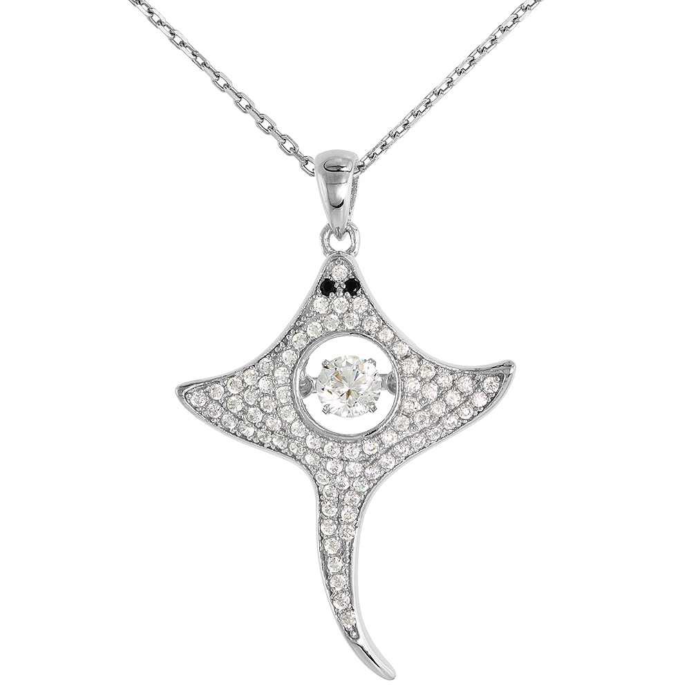 Sterling silver Dancing CZ Stingray Necklace Black Eyes Micro Pave 16 - 20 inch Boston Chain