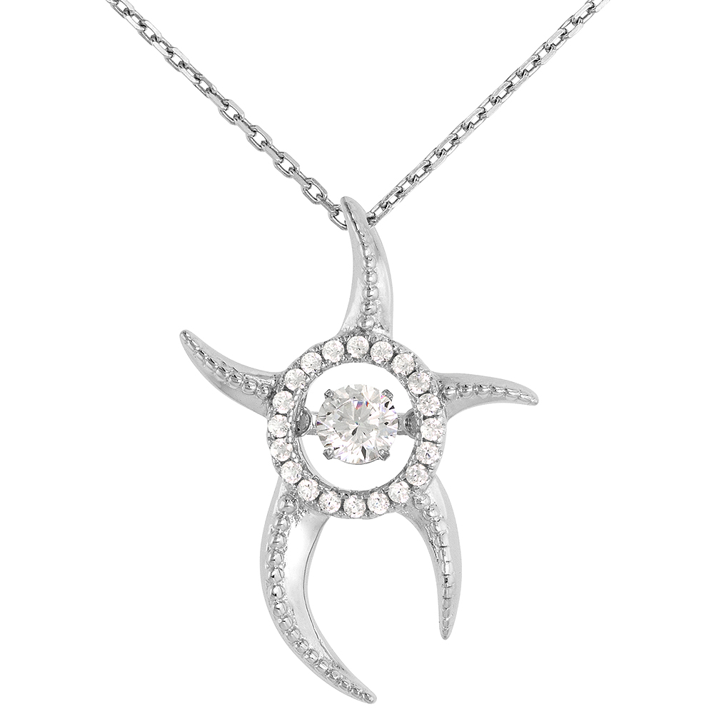 Sterling silver Dancing CZ Starfish Necklace Micro Pave 16 - 20 inch Boston Chain