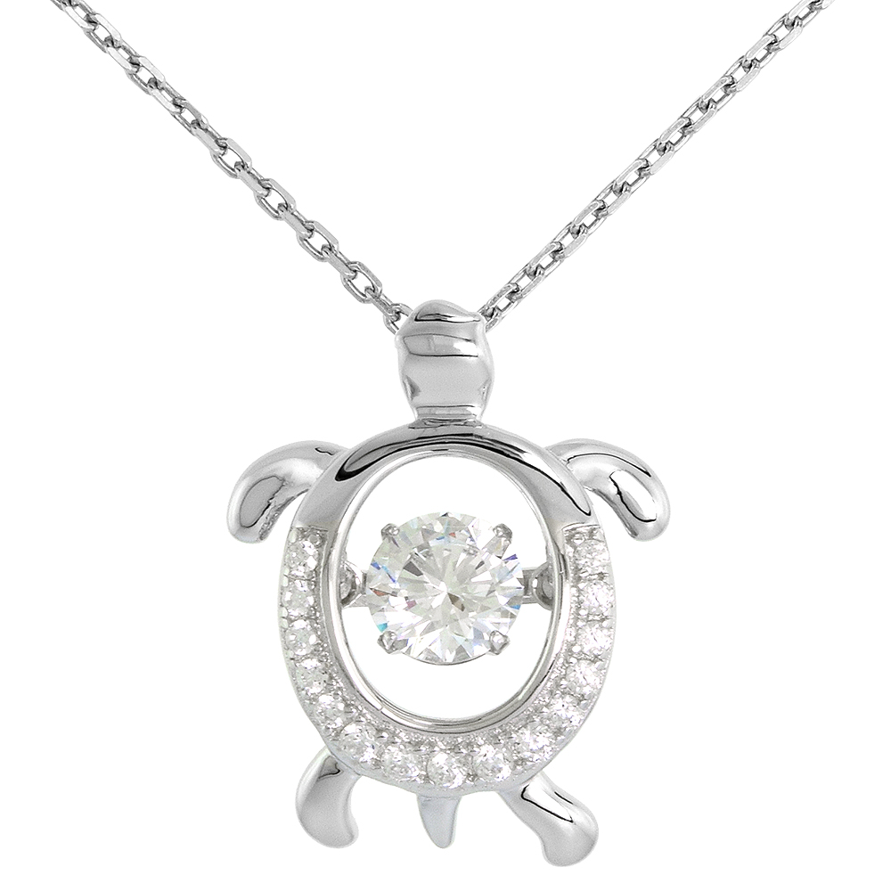 Sterling silver Dancing CZ Turtle Necklace Micro Pave 16 - 20 inch Boston Chain