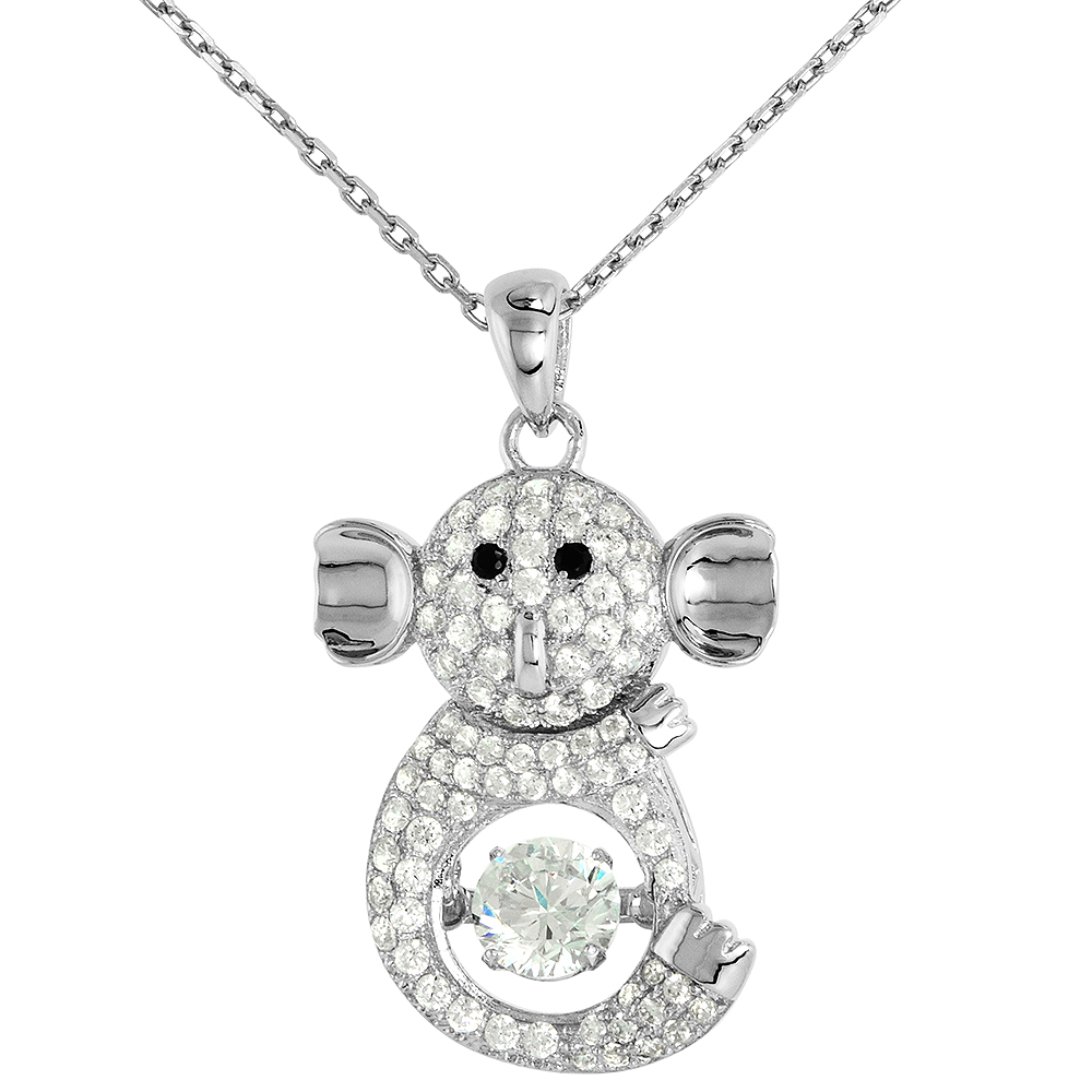 Sterling silver Dancing CZ Koala  Necklace Black Eyes Micro Pave 16 - 20 inch Boston Chain