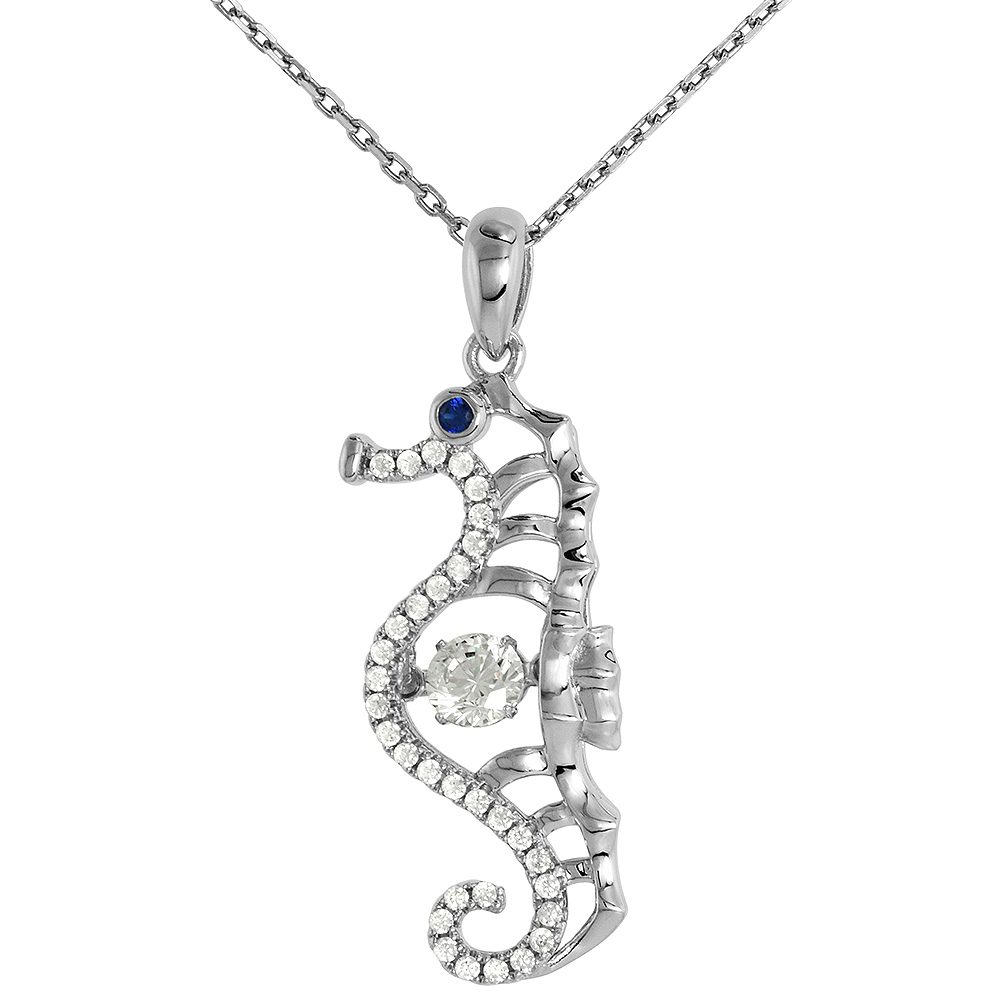 Sterling silver Dancing CZ Seahorse Cut-out Necklace Black Eyes Micro Pave 16 - 20 inch Boston Chain