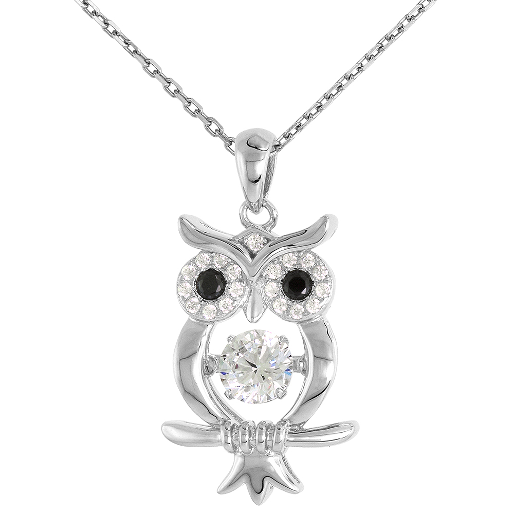 Sterling silver Dancing CZ Owl Necklace Micro Pave 16 - 20 inch Boston Chain