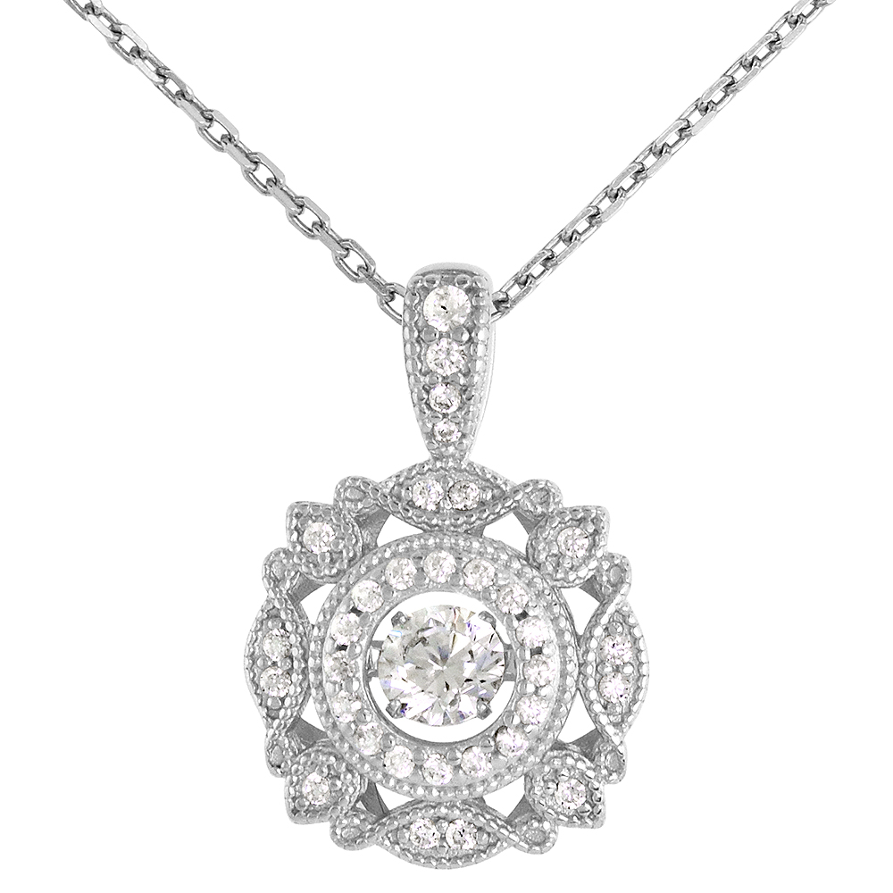 Sterling silver Dancing CZ Wreath Necklace Micro Pave 16 - 20 inch Boston Chain