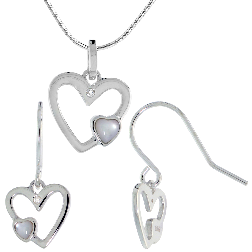 Dainty Sterling Silver Diamond Mother of Pearl Heart Earring Necklace Set with 18 inch RHB_20