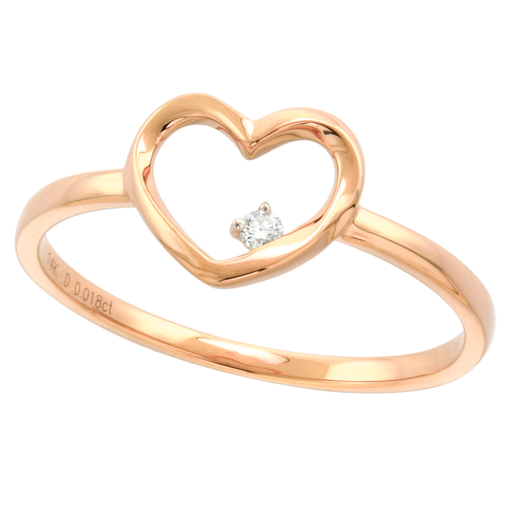 Dainty 14k Rose Gold Diamond Open Heart Ring 5/16 inch wide 0.02 cttw size 5-9