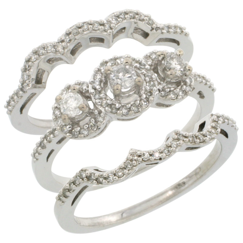 14k White Gold 3-Piece Diamond Engagement Ring Set 0.585 cttw Brilliant Cut Diamonds 3/8 inch wide