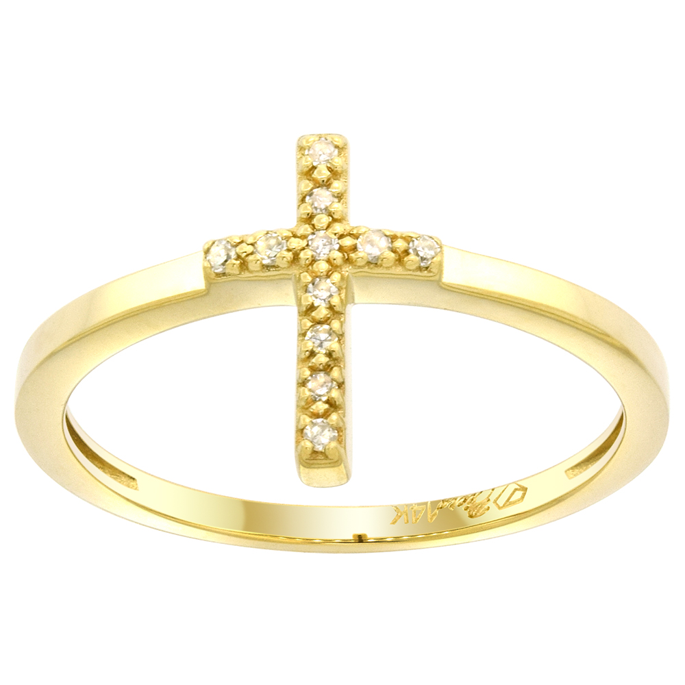 Dainty 14k Gold Diamond Cross Ring for Women 0.04 cttw 1/2 inch sizes 6 - 9