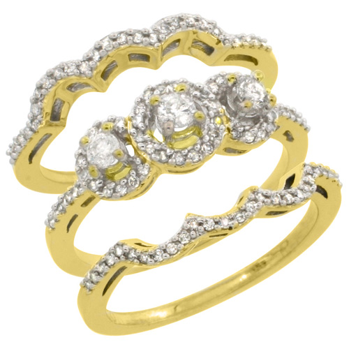14k Yellow Gold 3-Piece Diamond Engagement Ring Set 0.585 cttw Brilliant Cut Diamonds 3/8 inch wide