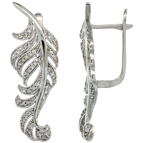 14k White Gold Large Leaf Diamond Earrings w/ 0.82 Carat Brilliant Cut ( H-I Color; VS2-SI1 Clarity ) Diamonds