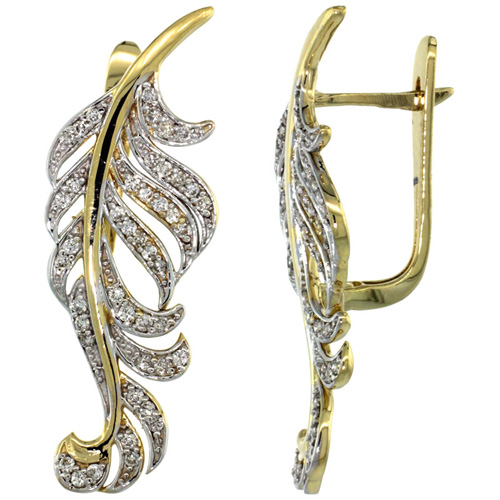 14k Gold Large Leaf Diamond Earrings w/ 0.82 Carat Brilliant Cut ( H-I Color; VS2-SI1 Clarity ) Diamonds