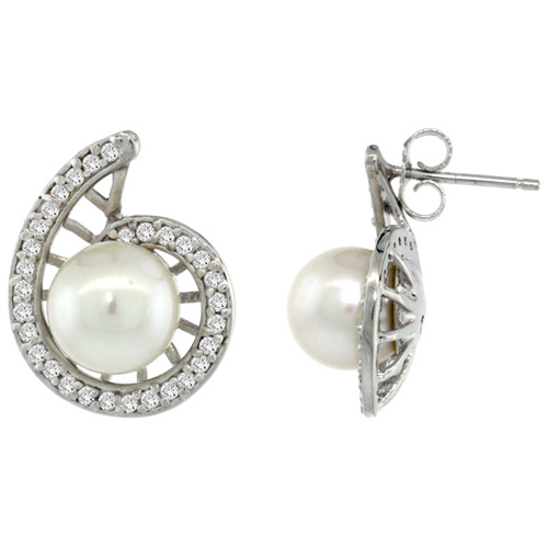 14k White Gold Swirl Pearl Earrings w/ 0.33 Carat Brilliant Cut ( H-I Color; VS2-SI1 Clarity ) Diamonds & 7mm White Pearls