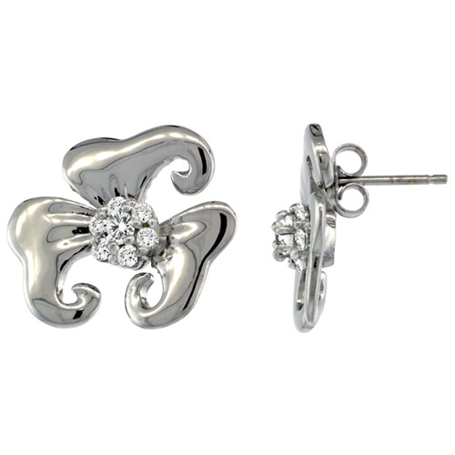 14k White Gold Flower Earrings w/ 0.32 Carat Brilliant Cut ( H-I Color; VS2-SI1 Clarity ) Diamonds
