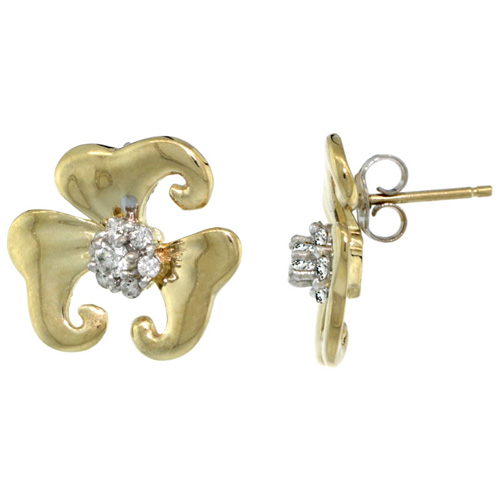 14k Gold Flower Earrings w/ 0.32 Carat Brilliant Cut ( H-I Color; VS2-SI1 Clarity ) Diamonds
